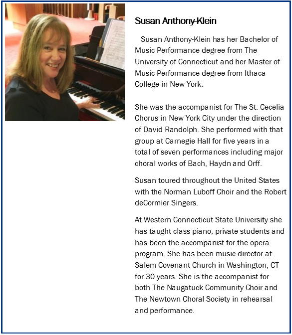 Susan Anthony Klein, pianist, organist, accompanist